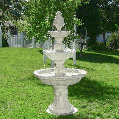 59 in. 3-Tier Welcome Outdoor Water Fountain