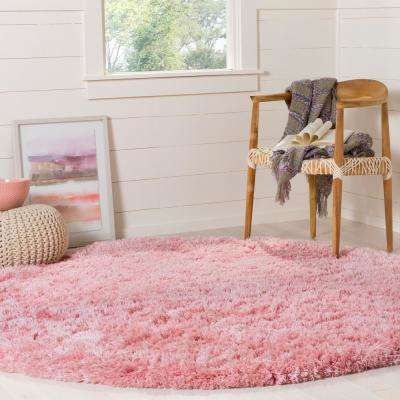 Polar Shag Light Pink 5 ft. 1 in. x 5 ft. 1 in. Round Area Rug