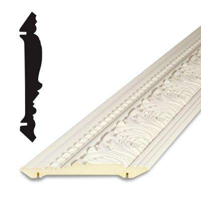 3/4 in. x 4-1/8 in. x 96 in. Primed Polyurethane Grecian Leaves Crown Moulding
