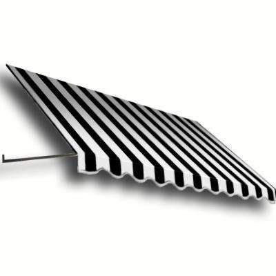 12 ft. Dallas Retro Window/Entry Awning (24 in. H x 42 in. D) in Black/White Stripe