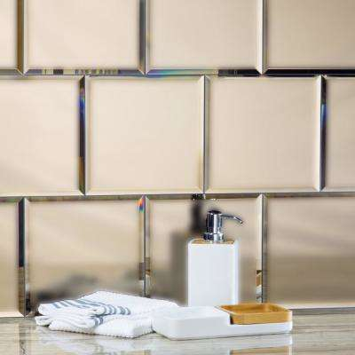 Reflections Gold Field 8 in. x 8 in. Frosted Matte Glass Mirror Wall Tile (4.4 sq. ft.)