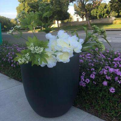 Large 17.7 in. x 17.7 in. x 16.9 in. Granite Color Lightweight Concrete Modern Seamless Round Planter