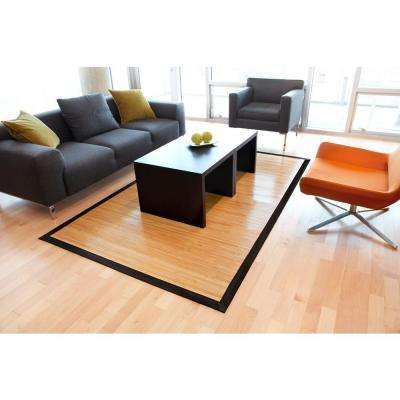 Contemporary Natural Light Brown with Black Border 6 ft. x 9 ft. Area Rug