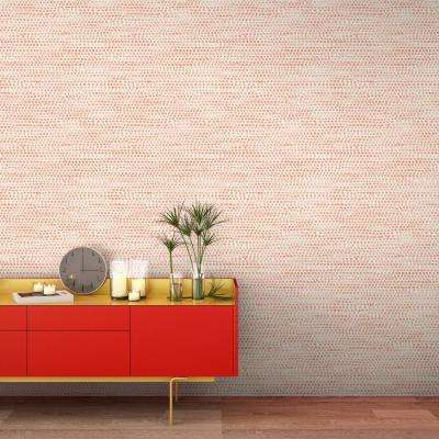 Moire Dots Coral Peel and Stick Wallpaper 28 sq. ft.