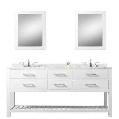 72 in. Vanity in Carrara White with Marble Vanity Top in Carrara White and Mirrors