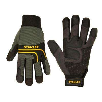 Men's Black Synthetic Leather Palm Gloves