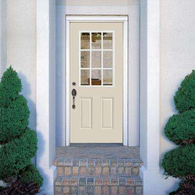 32 in. x 80 in. 9 Lite Canyon View Left Hand Inswing Painted Smooth Fiberglass Prehung Front Door with No Brickmold