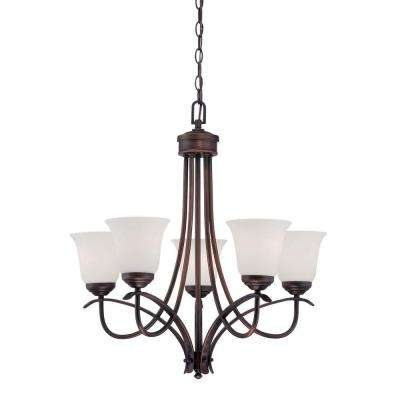 5-Light Rubbed Bronze Chandelier with Etched White Glass