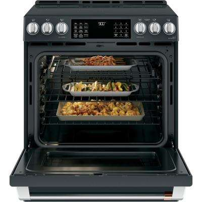 30 in. 5.7 cu. ft. Slide-In Induction Range with Steam-Cleaning, Convection Oven in Matte Black, Fingerprint Resistant