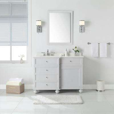 Hampton Harbor 48 in. W x 22 in. D in Dove Grey Bath Vanity with  Natural Marble Vanity Top in White with White Sink