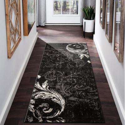 Infinity Black/Anthracit 2 ft. 1 in. x 7 ft. 5 in. Indoor Runner Rug