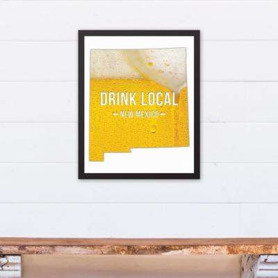"16 in. x 20 in. ""New Mexico Drink Local Beer  "" Printed Framed Canvas Wall Art"