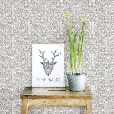 Grey Garden Damask Wallpaper