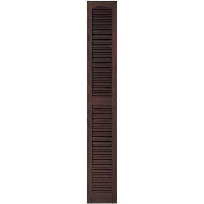 12 in. x 80 in. Louvered Vinyl Exterior Shutters Pair in #009 Federal Brown