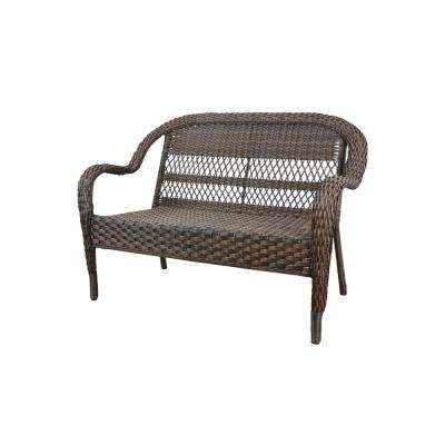 Mix and Match Brown Wicker Outdoor Patio Loveseat with Beige Cushions