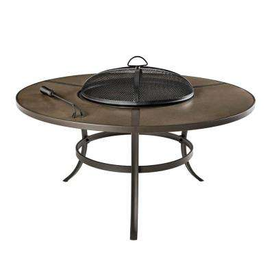 42 in. Brown Round Steel Wood Burning Outdoor Patio Fire Pit Table