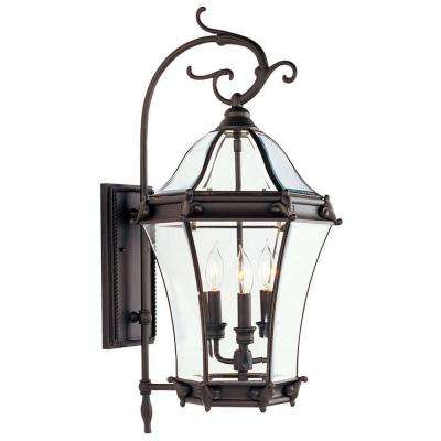 Providence Wall-Mount 3-Light Bronze Outdoor Incandescent Lantern