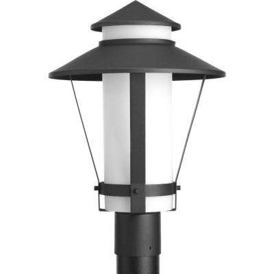 Via Collection 1-Light Black Fluorescent Outdoor Post Lantern