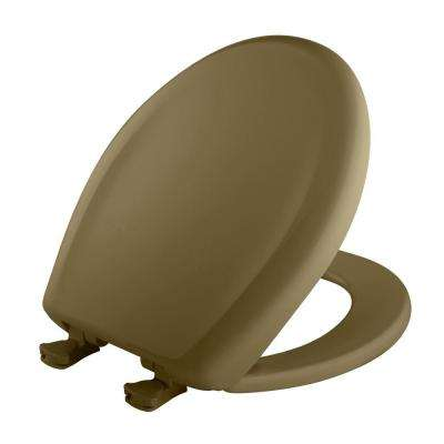 Slow Close STA-TITE Round Closed Front Toilet Seat in Avocado Brown