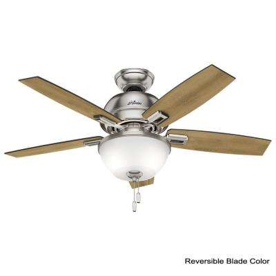 Donegan 44 in. LED Indoor Brushed Nickel Ceiling Fan with Bowl Light Kit