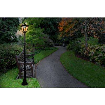Bayport 72 in. Outdoor Black Solar Lamp Post with Super Bright Natural White LED