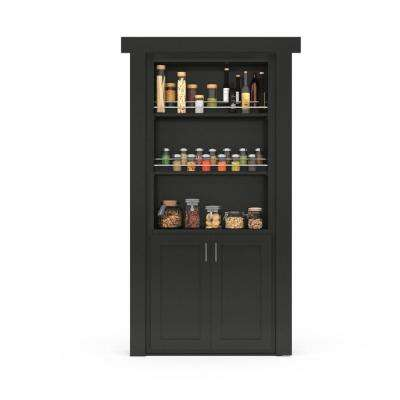 32 in. x 80 in. Flush Mount Assembled Forward Pantry Door Paint Grade Black Left Hand Outswing