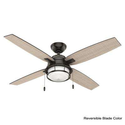 Ocala 52 in. LED Indoor/Outdoor Noble Bronze Ceiling Fan with Light and bundled with remote control