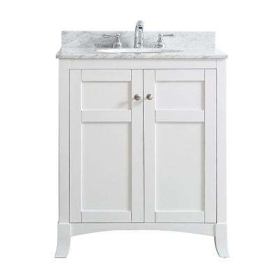 Arezzo 30 in. W x 22 in. D x 36 in. H Vanity in White with Marble Vanity Top in Carrara White with Basin