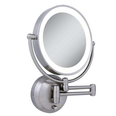 11 in. x 13.75 in. LED Lighted 10X/1X Round Wall Mirror in Satin Nickel