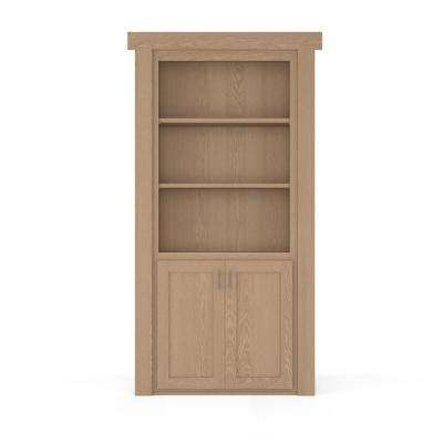 32 in. x 80 in. Flush Mount Assembled Laundry Door Oak Unfinished Right-Hand Outswing