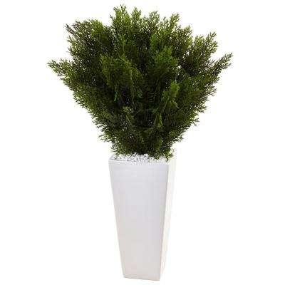 Indoor 2.5 ft. H Cedar Artificial Plant in White Tower Planter