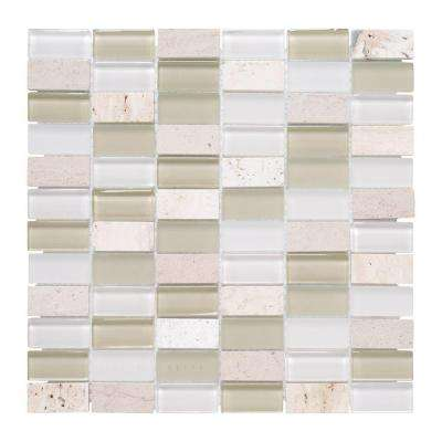 Cottage Ridge 12 in. x 12 in. Glass Travertine Mosaic Wall Tile
