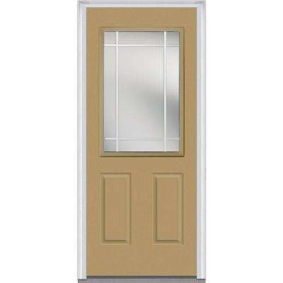 Classic Clear Glass 1/2 Lite 2 Panel PIM Painted Majestic Steel Prehung Front Door