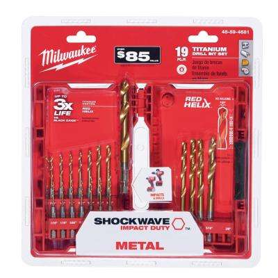 Shockwave Titanium Red Helix Drill Bit Set (19-Piece)