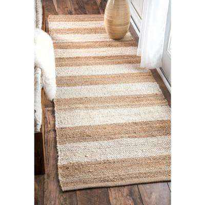 Alisia Stripes Jute Bleached 3 ft. x 8 ft. Runner Rug