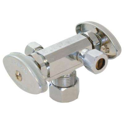 5/8 in. Compression x 3/8 in. Compression x 1/4 in. Compression Brass Dual Outlet Dual Handle Stop Valve