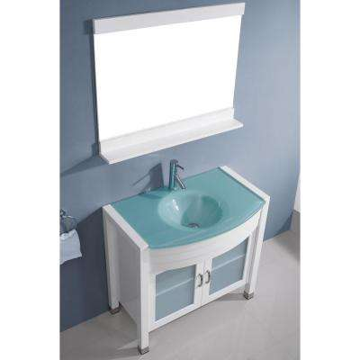 Ava 36 in. W Bath Vanity in White with Glass Vanity Top in Aqua Tempered Glass with Round Basin and Mirror and Faucet