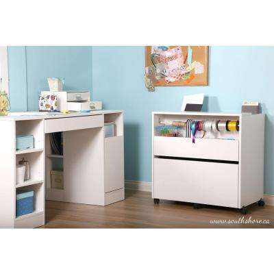 Crea Laminated Particleboard Craft Storage Cabinet with Wheels in Pure White