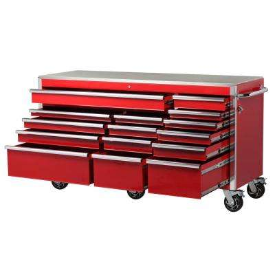 Heavy-Duty 72 in. W 15-Drawer, Deep Tool Chest Mobile Workbench in Gloss Red with Stainless Steel Top