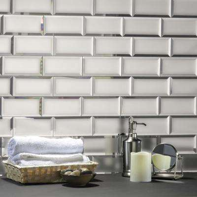 Reflections Silver Beveled Subway 3 in. x 6 in. Matte Glass Mirror Wall Tile (14 Sq.Ft./Bx)