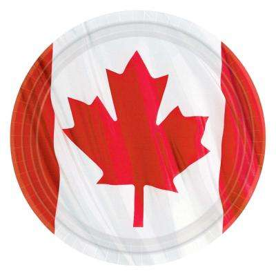 9 in. x 9 in. Canadian Waving Flag Round Plates (10-Count, 8-Pack)