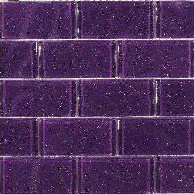 Glitter Lavender Glass Mosaic Floor and Wall Tile - 3 in. x 6 in. Tile Sample