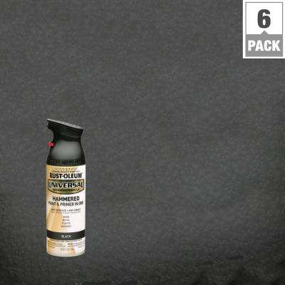 12 oz. All Surface Hammered Black Spray Paint and primer in 1 (6-Pack)