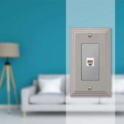 Tiered Cast 1 Phone Wall Plate, Satin Nickel