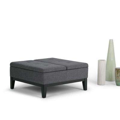 Dover Linen Look Polyester 1-Piece Coffee Table Ottoman with Storage in Slate Grey