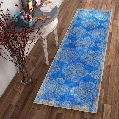 Kings Court Greek Key Blue 3 ft. x 12 ft. Modern Distressed Runner Rug