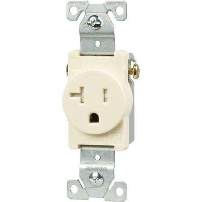 20 Amp Tamper Resistant 2-Pole Single Receptacle with Side Wiring, Light Almond