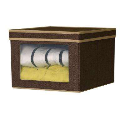 12.25 in. x 13.25 in. Coffee Linen-Look Medium Vision Storage Box