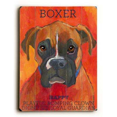 "18 in. x 24 in. ""Boxer by Ursula Dodge ""Planked Wood"" Wall Art"