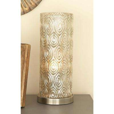 6 in. x 15 in. Touch Of Glass Ogee Pattern Accents Glass and Metal Uplight